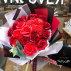 Luxurious bouquet of red soap roses