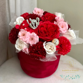 Luxurious bouquet of red fragranced soap flowers