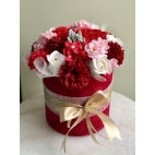 Luxurious bouquet of red fragranced soap flowers, M size
